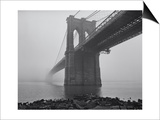Brooklyn Bridge, Fog, Birds - View from Brooklyn Poster by Henri Silberman