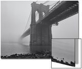 Brooklyn Bridge, Fog, Birds - View from Brooklyn Print by Henri Silberman