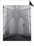 Henri Silberman - On the Brooklyn Bridge, Fog, Close-Up - New York City Icon Plakát