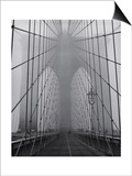 Henri Silberman - On the Brooklyn Bridge, Fog, Close-Up - New York City Icon - Poster