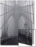 Henri Silberman - On the Brooklyn Bridge, Fog, Close-Up - New York City Icon Reprodukce