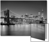 Brooklyn Bridge at Night 1 - New York City Landmarks Posters by Henri Silberman