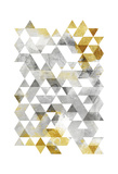 Golden Grey Triangles Prints by  OnRei