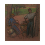 Peasant Couple with Apple-Trees Giclee Print by Julio González