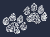 Dog Paw Prints - Woof Plastic Sign