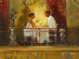 Diner at the Hotel Artiste Wood Print by John Haskins