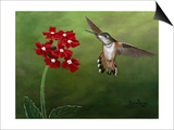 Hummer and Red Flowers Art by Julie Peterson