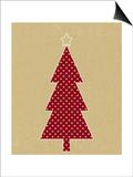 Polka Dot Tree on Kraft Prints by Linda Woods