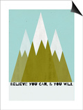 Believe You Can-Mountains - Silouhette Typography Art by Shanni Welch