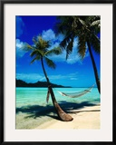 Hammock Hanging Seaside Framed Photographic Print by Randy Faris