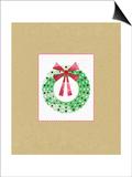 Wreath on Kraft Prints by Linda Woods