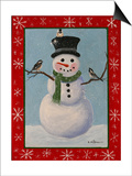 Snowman and Chickadees Prints by Julie Peterson