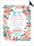 Serenity Prayer Floral Prints by Jo Moulton
