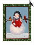 Snowman and Cardinals Print by Julie Peterson