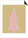 Stripe Tree on Kraft Prints by Linda Woods