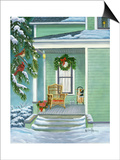 Cardinals and Christmas Porch Posters av Julie Peterson