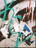 Aqua Tag 3 Stretched Canvas Print by Jenny Kraft