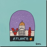 Atlanta Snow Globe Stretched Canvas Print by Brian Nash