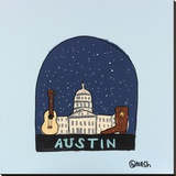 Austin Snow Globe Stretched Canvas Print by Brian Nash