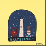 Baltimore Snow Globe Stretched Canvas Print by Brian Nash
