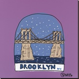 Brooklyn Snow Globe Stretched Canvas Print by Brian Nash