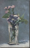 Carnations and Clematis in a Crystal Vase Stretched Canvas Print by Edouard Manet