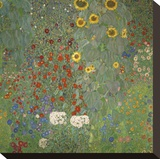 Farm Garden with Sunflowers, around 1905/1906 Stretched Canvas Print by Gustav Klimt