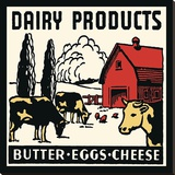Dairy Products-Butter, Eggs, Cheese Stretched Canvas Print by  Retro Series