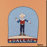 Dallas Snow Globe Stretched Canvas Print by Brian Nash