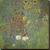 Farm Garden with Sunflowers, around 1905/1906 Stretched Canvas Print by Gustav Klimt