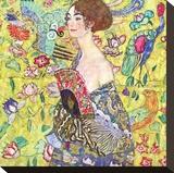 Mujer con abanico Reproducción en lienzo de la lámina por Gustav Klimt
