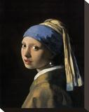 Garota com brincos de pérola Impressão em tela esticada por Jan Vermeer