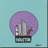 Houston Snow Globe Stretched Canvas Print by Brian Nash