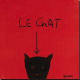 Le Chat Stretched Canvas Print by Brian Nash
