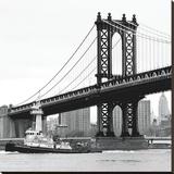 Manhattan Bridge with Tug Boat (b/w) Toile tendue sur châssis par Erin Clark