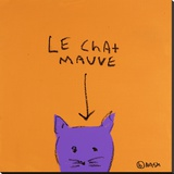 Le Chat Mauve Stretched Canvas Print by Brian Nash