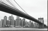 Manhattan from Brooklyn (b/w) Stretched Canvas Print by Erin Clark