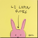Le Lapin Rose Stretched Canvas Print by Brian Nash