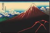 Lightning Below the Summit Stretched Canvas Print by Katsushika Hokusai
