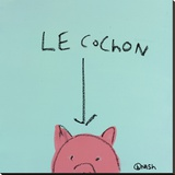 Le Cochon Stretched Canvas Print by Brian Nash