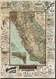 Map of California Roads for Cyclers, 1896 Stretched Canvas Print by George W. Blum