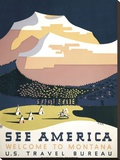 See America - Welcome to Montana I Stretched Canvas Print by  Vintage Reproduction