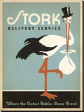 Stork Delivery Service (Blue) Stretched Canvas Print by  Anderson Design Group