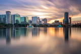 Orlando, Florida, USA Skyline at Eola Lake. Photographic Print by  SeanPavonePhoto