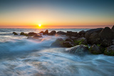 St. Augustine Florida Ocean Beach Sunrise with Crashing Waves Photographic Print by  daveallenphoto