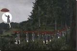 When a rising moon has touched the Treeline Opspændt lærredstryk af Kara Smith