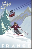 Ski France Stretched Canvas Print by Kem Mcnair