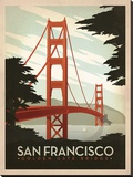 San Francisco: Golden Gate Bridge Stretched Canvas Print by  Anderson Design Group