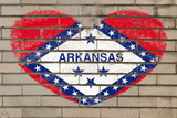 Heart Shape Flag of Arkansas on Brick Wall Photographic Print by  vepar5
