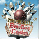 Ten Pin Alley Bowling Center Sträckt Canvastryck av Anthony Ross